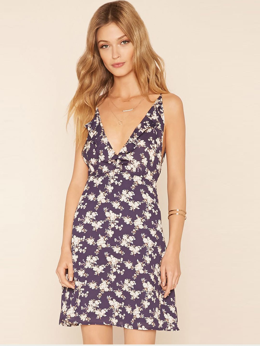 fea8f146b035 FOREVER 21 Women Navy Printed Fit   Flare Dress