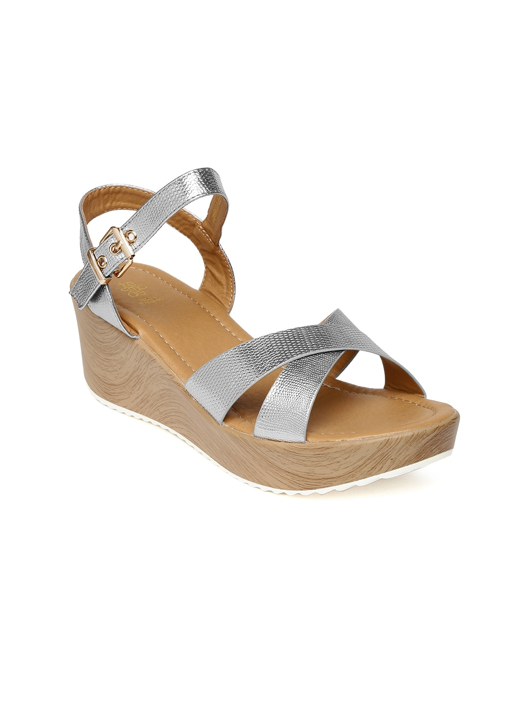 Tresmode Women Silver-Toned Wedges