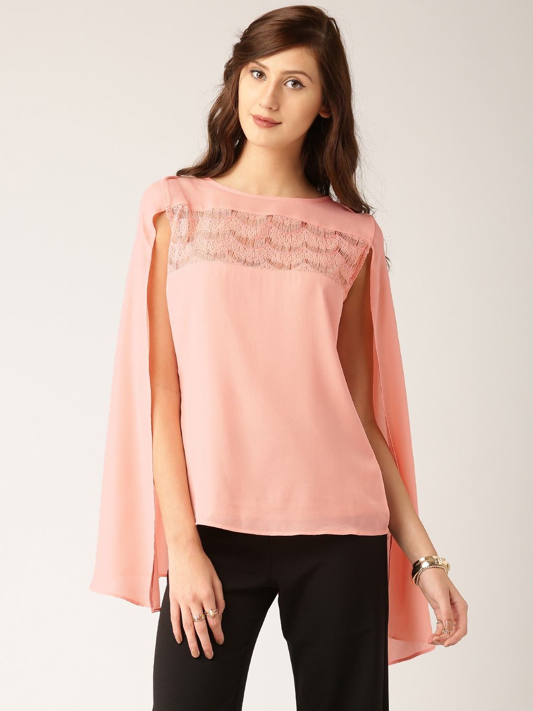 All About You from Deepika Padukone Peach-Coloured Lace Cape Top