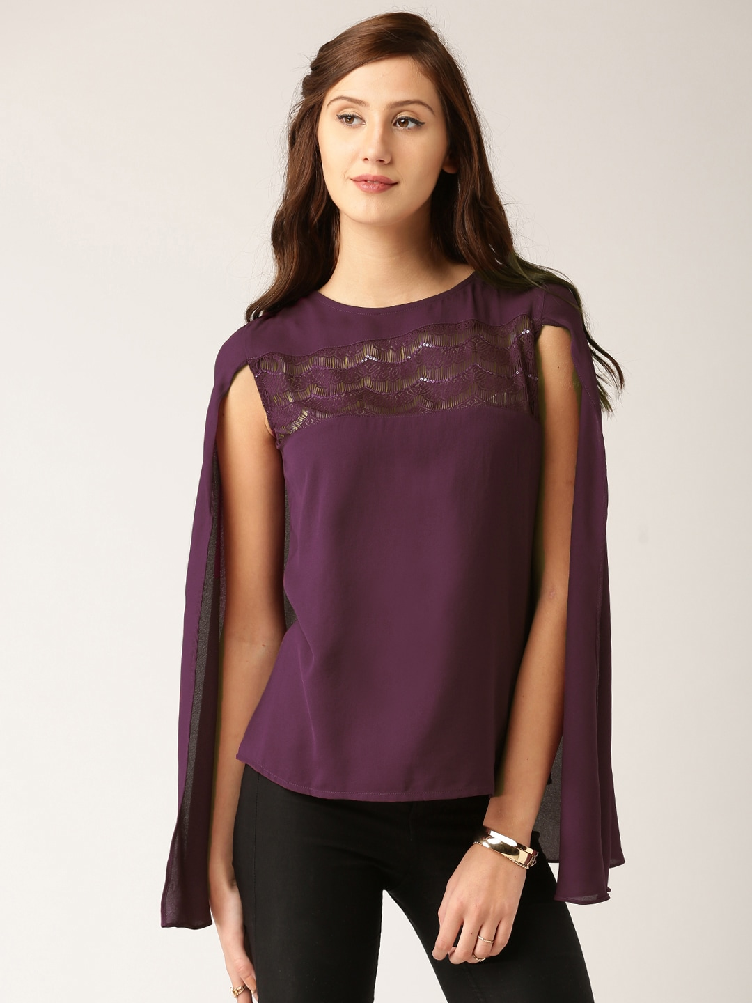 all about you from Deepika Padukone Women Purple Solid Cape Top