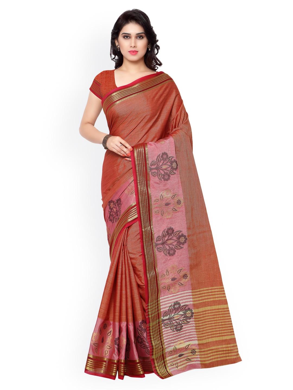 Varkala Silk Sarees Red Banarasi Kora Silk Traditional Saree