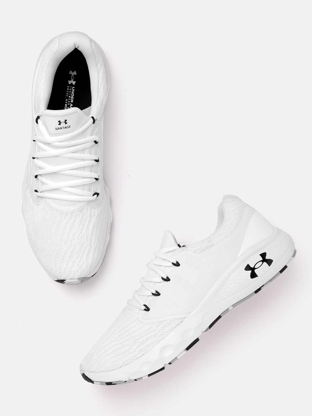 UNDER ARMOUR Men White Charged Vantage Marble Running Shoes