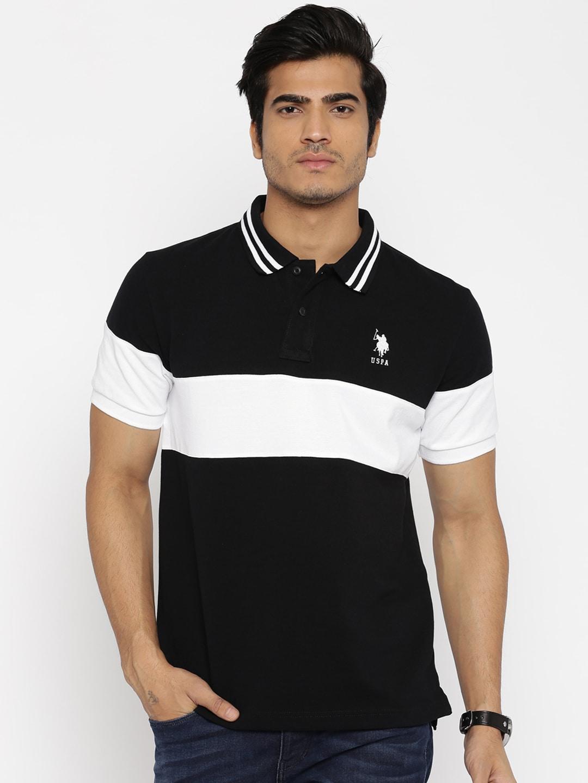 Buy U.S. Polo Assn. Men Black & White Polo T Shirt - Tshirts for ...