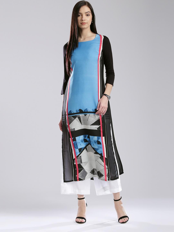 W Blue & Black Polyester Printed Kurta
