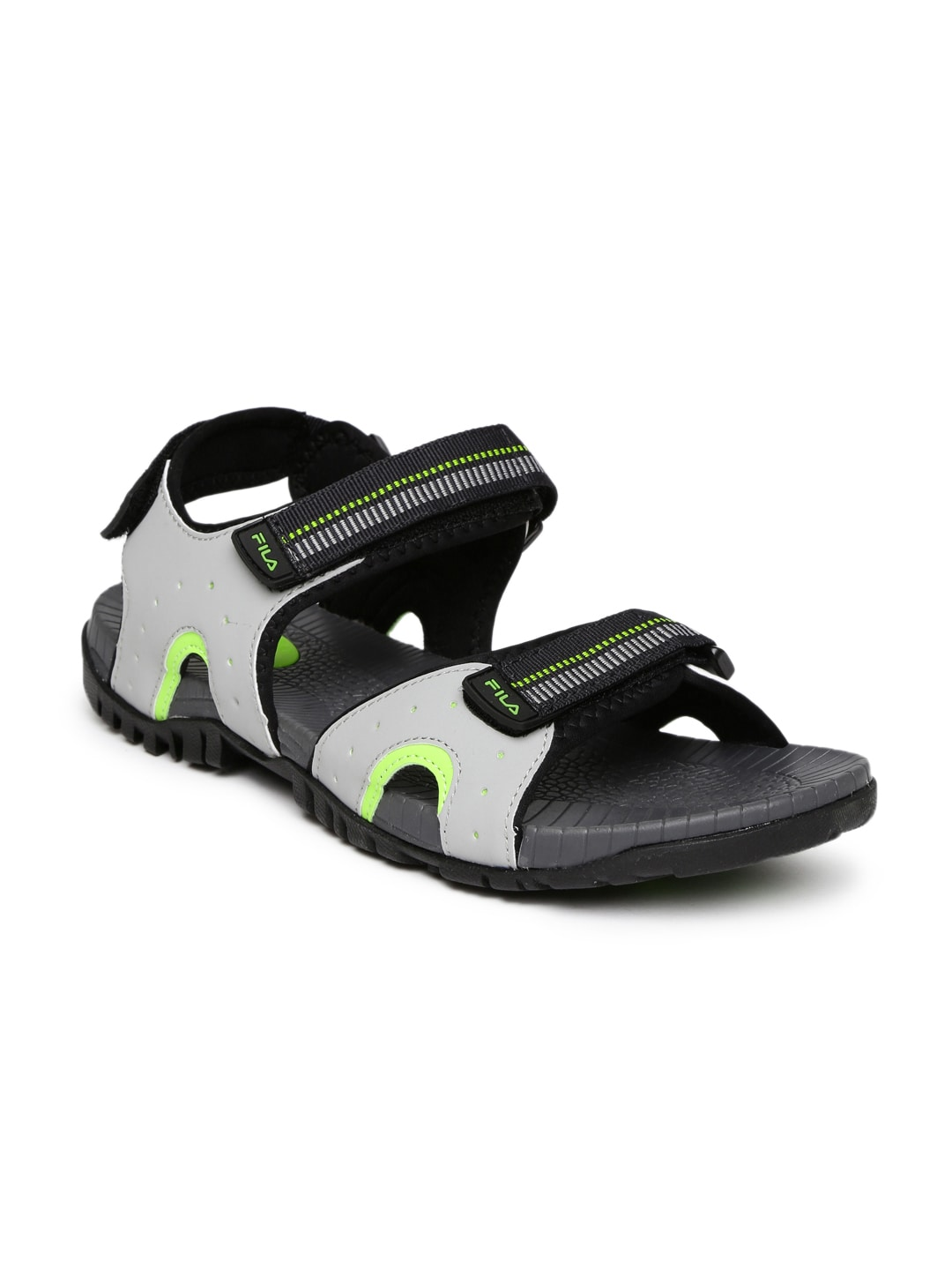 471ffb578f FILA Men Grey & Black Raidon Sports Sandals