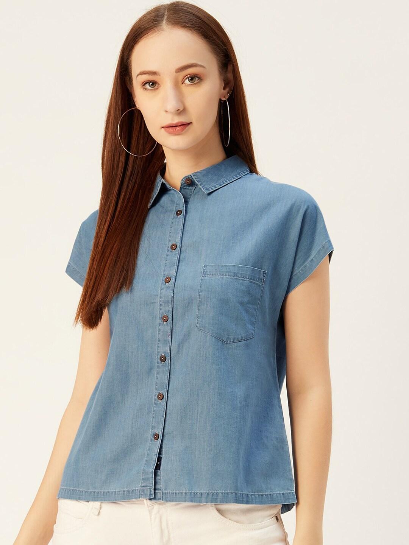 Xpose Women Blue Solid Denim Casual Shirt