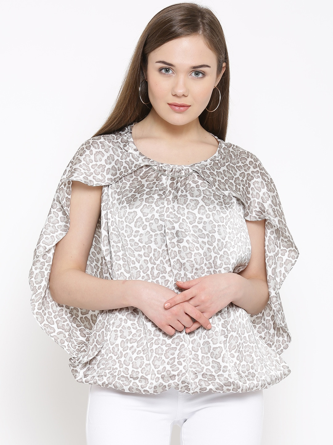 RARE Women White & Grey Printed Top with Cape