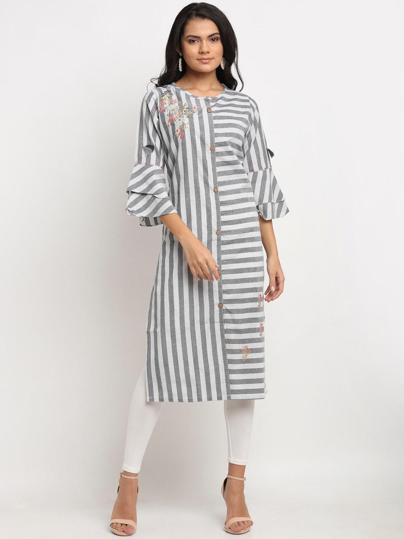 Aujjessa Women Grey & White Striped Flared Sleeves Kaftan Kurta