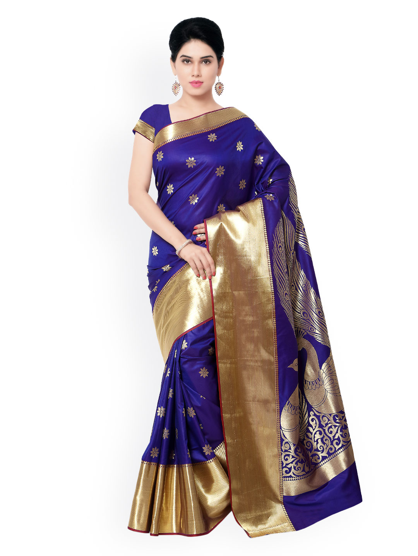 Varkala Silk Sarees Blue Kanjeevaram Art Silk Traditional Saree