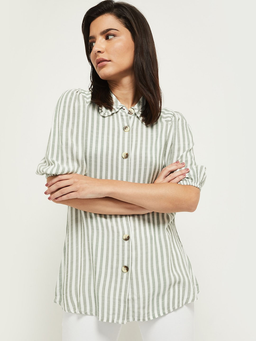 max Women Green and White Striped Casual Shirt