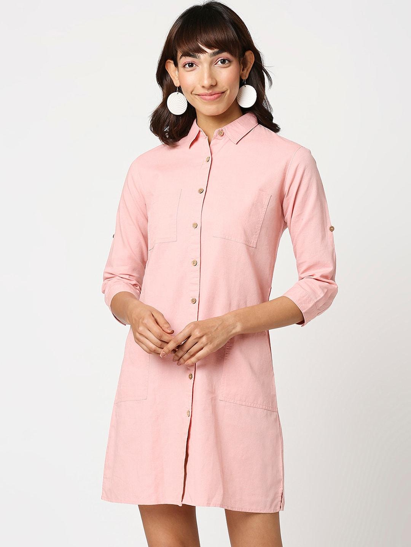 Bewakoof Women Pink Shirt Dress with Pockets