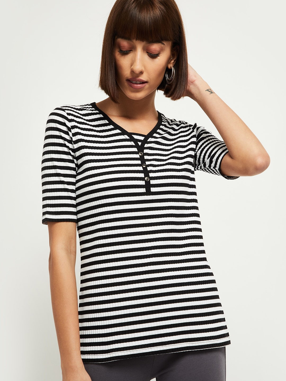 max Women Black Striped Henley Neck T-shirt