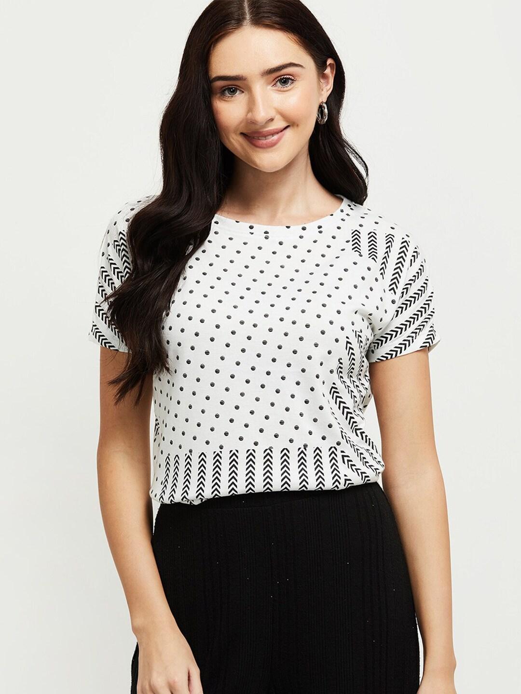 max Women White Printed T-shirt