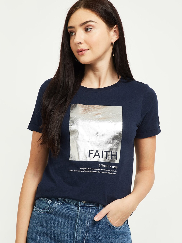max Women Blue Printed T-shirt