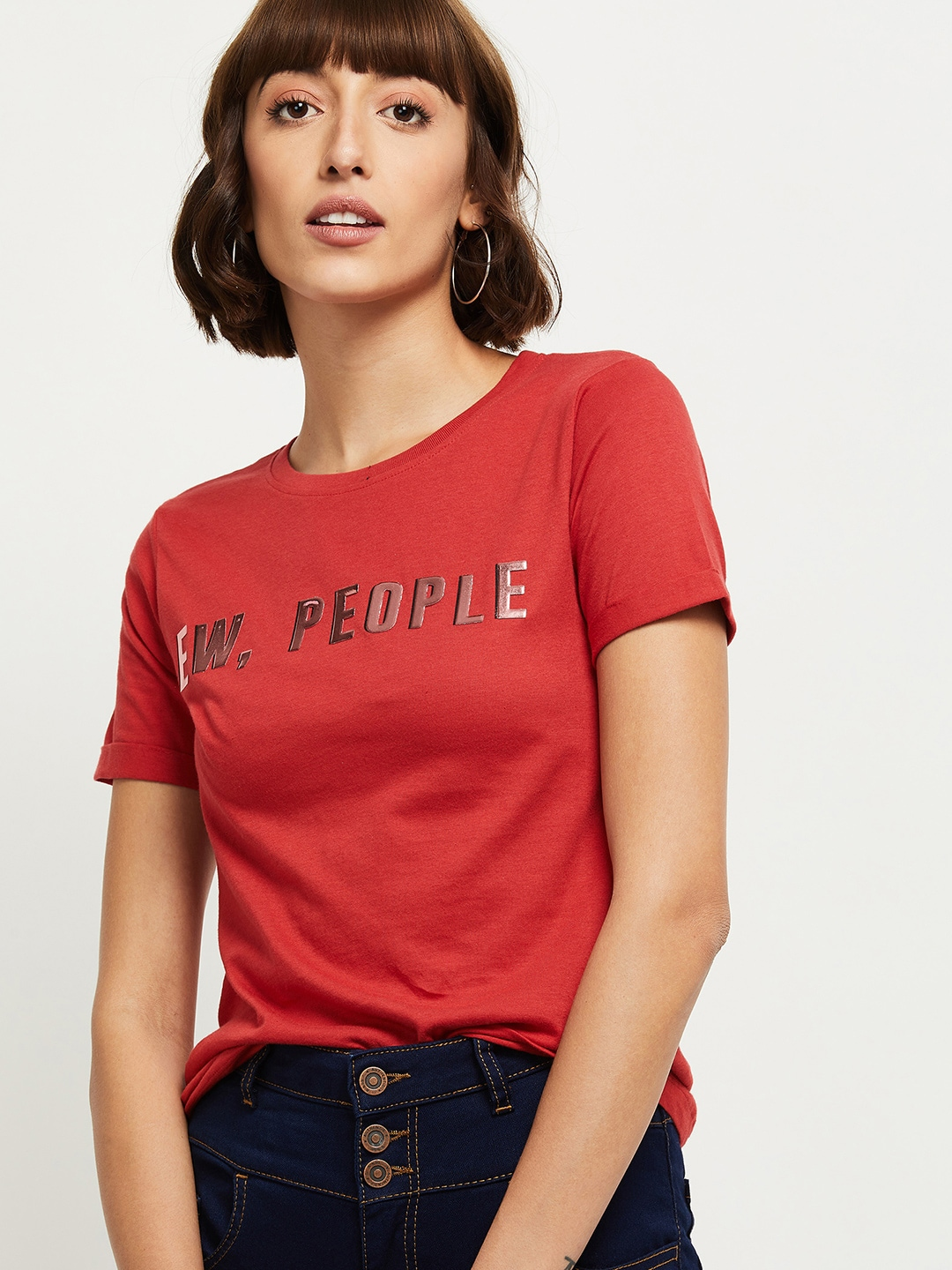 max Women Red Typography T-shirt