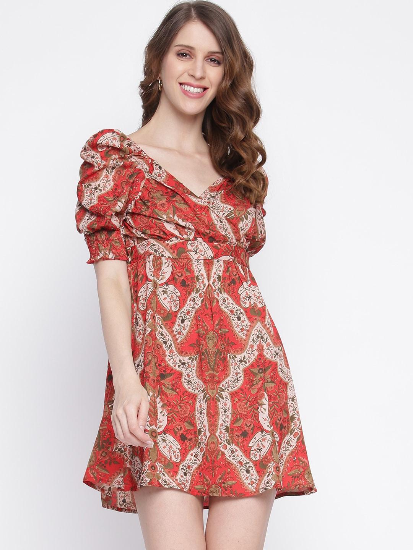 INIESTA Red & Beige Floral Printed Puff Sleeves Smocked Mini Fit & Flare Dress