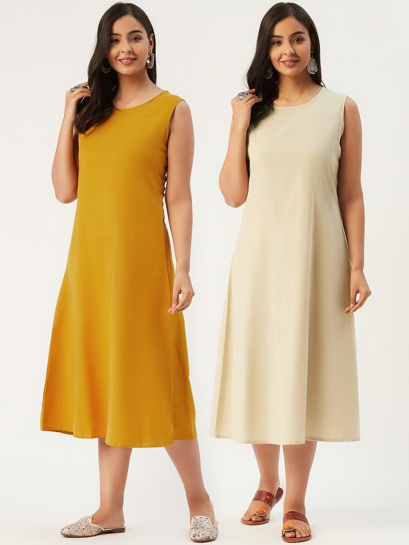 Molcha Off White A-Line Midi Dress