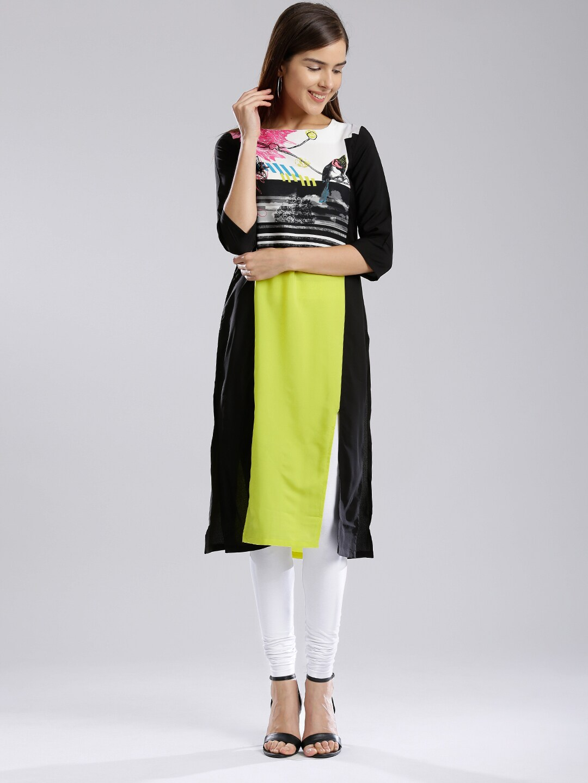 W Women Lime Green Printed Straight Kurta