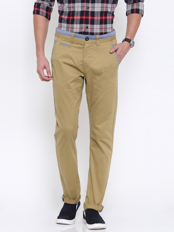 Being Human Clothing Men Khaki Solid Regular Fit Chinos