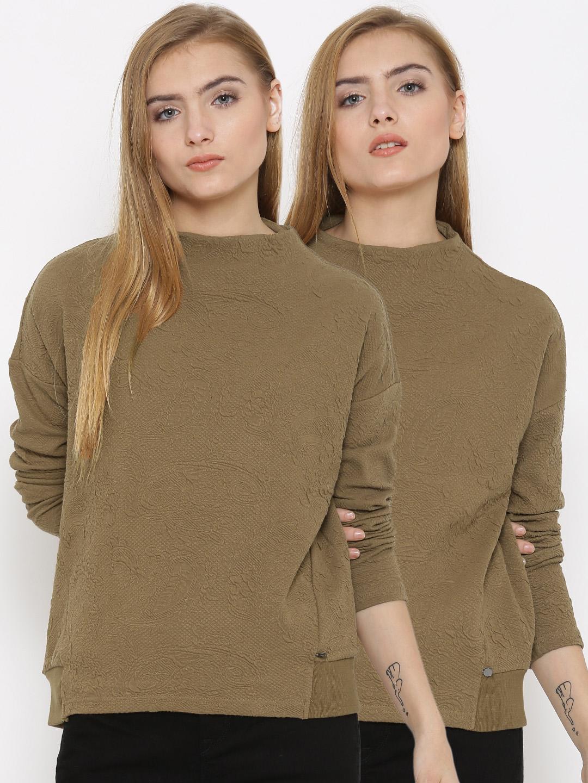 Vero Moda Women Pack of 2 Olive Brown Tops