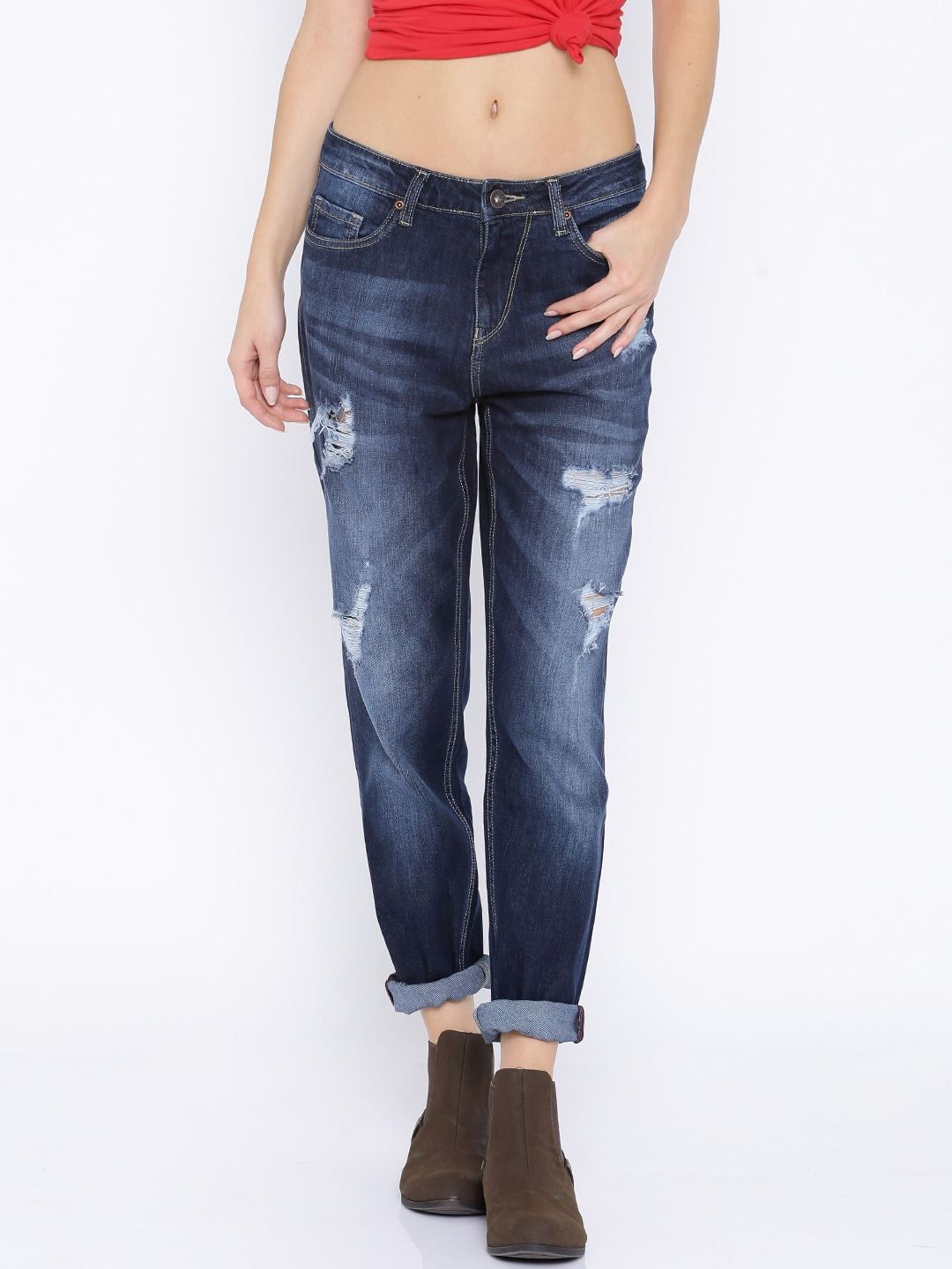 Roadster Women Blue Boyfriend Fit Mid Rise Mildly Distressed Jeans