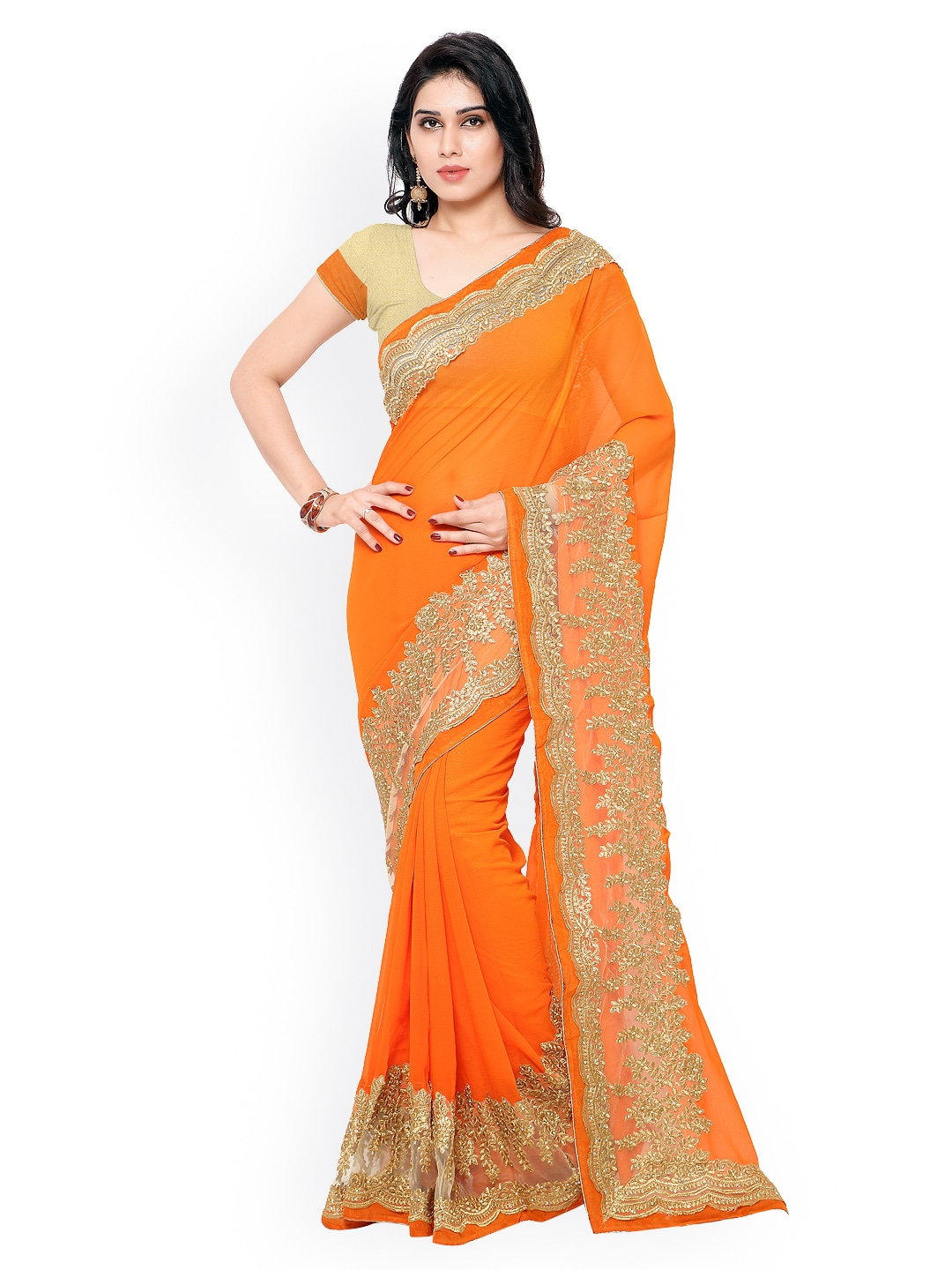 Colors Orange Embroidered Georgette Saree