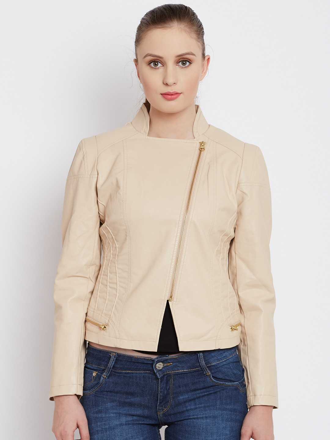Fort Collins Beige Faux Leather Biker Jacket
