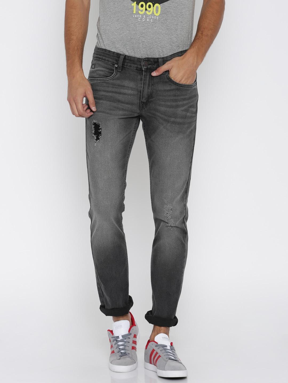 WROGN Men Grey Slim Fit Mid-Rise Mildly Distressed Jeans