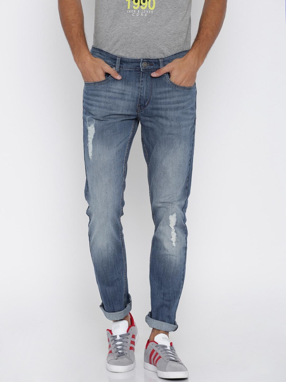 WROGN Men Blue Slim Fit Mid-Rise Mildly Distressed Jeans