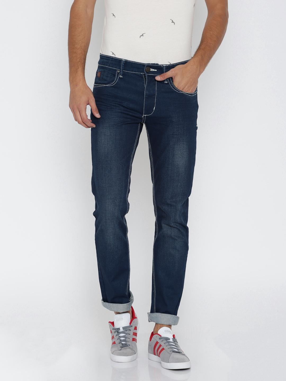 WROGN Men Blue Slim Fit Mid-Rise Clean Look Jeans