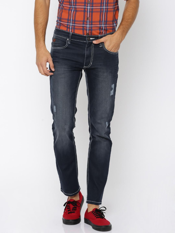 WROGN Men Blue Slim Fit Mid-Rise Low Distress Jeans