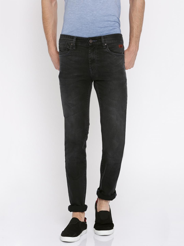 WROGN Men Charcoal Grey Skinny Fit Mid-Rise Clean Look Jeans