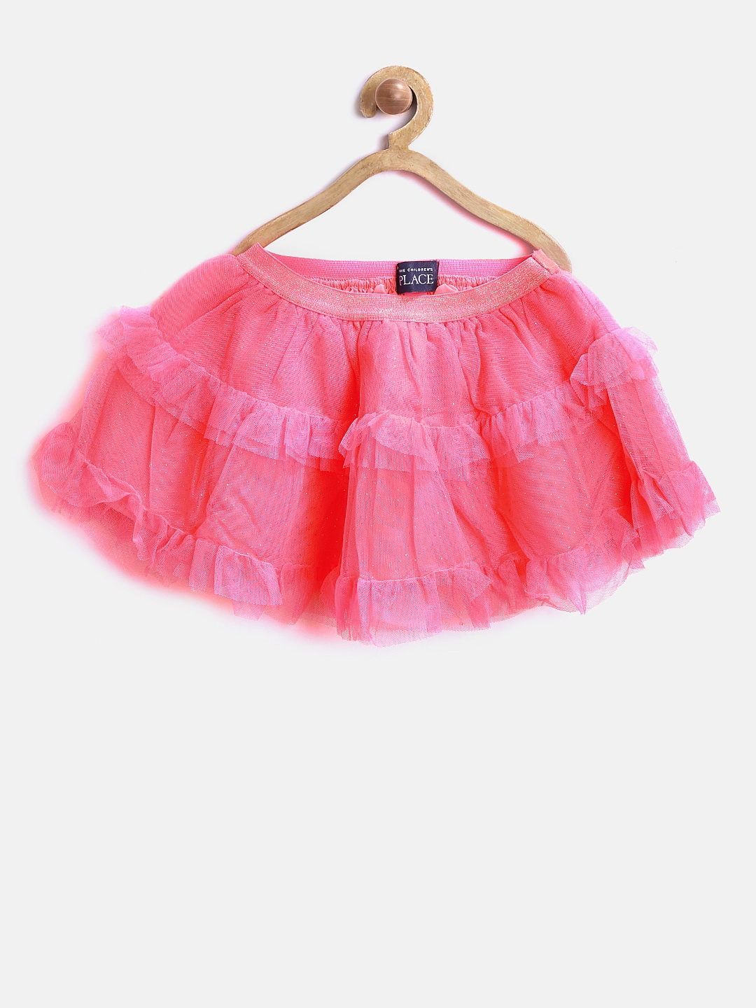 The Childrens Place Girls Pink Net Tiered Flared Skirt