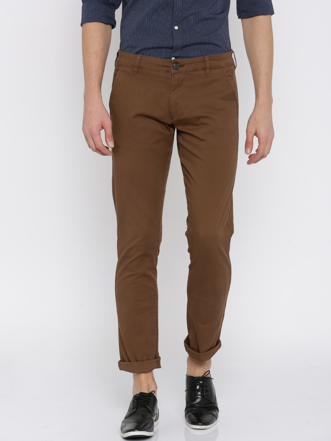 SELECTED Men Brown Solid Chinos