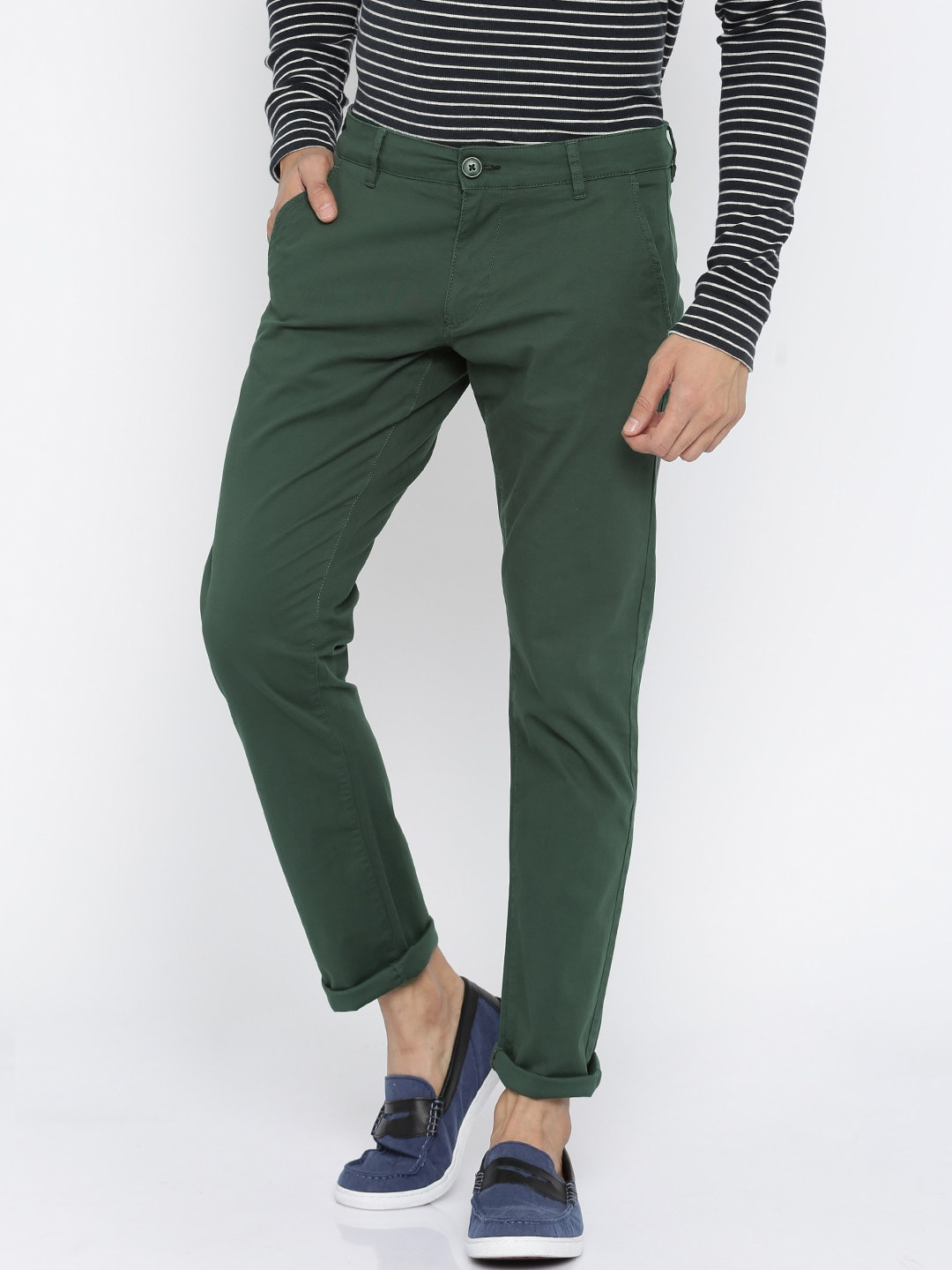 SELECTED Men Olive Solid Regular Fit Chinos