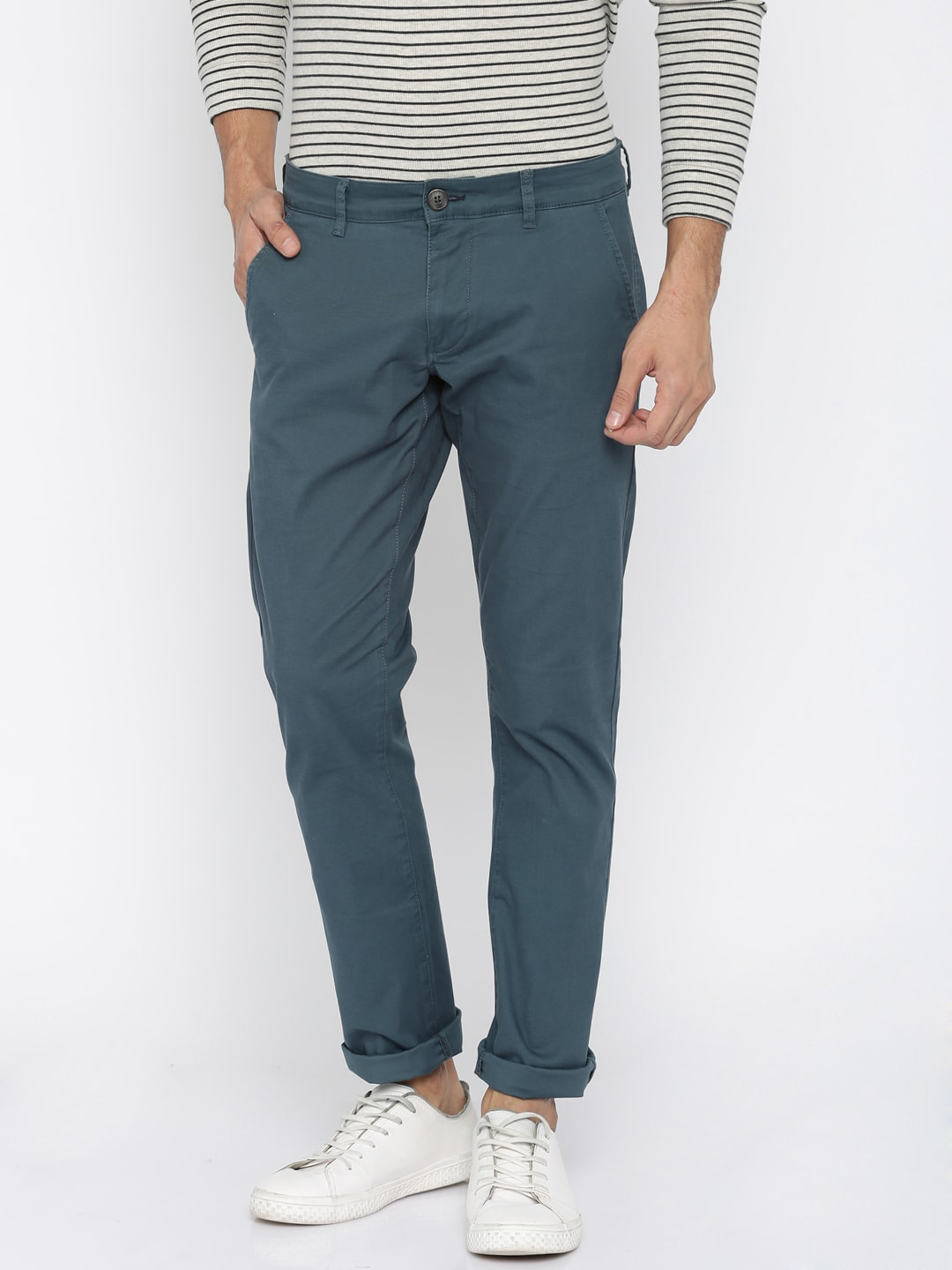 SELECTED Men Teal Blue Chinos Trousers