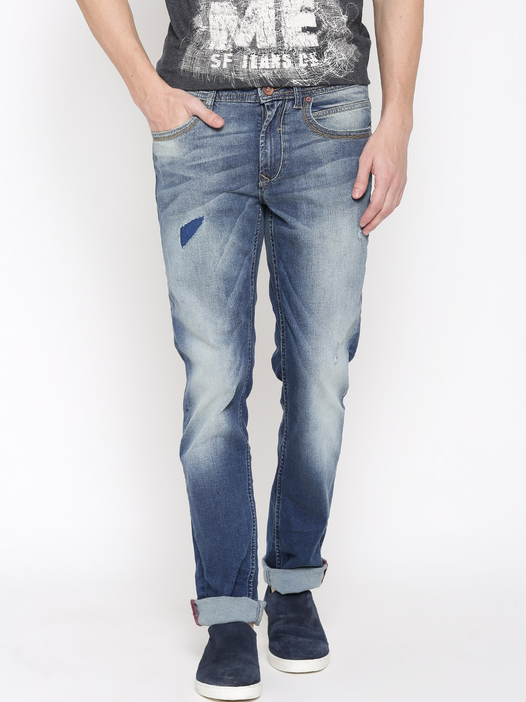 SF JEANS by Pantaloons Men Navy Cobain Fit Mid-Rise Low Distress Jeans
