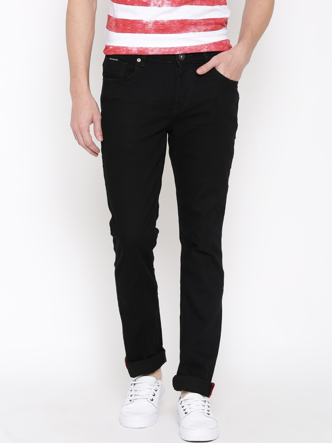 SF JEANS by Pantaloons Men Black Jagger Fit Mid-Rise Clean Look Jeans