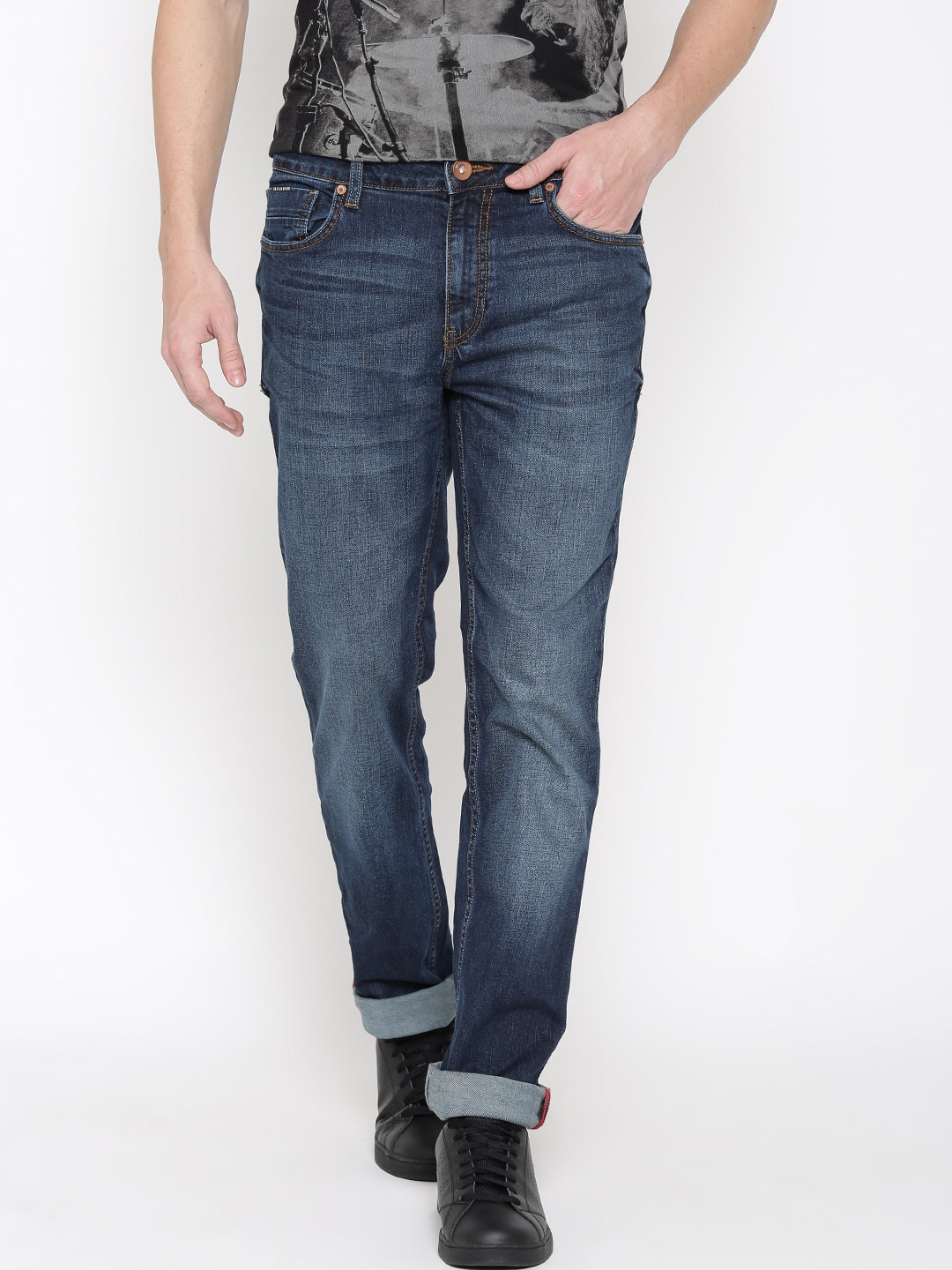 SF JEANS by Pantaloons Men Navy Cobain Fit Mid-Rise Clean Look Jeans