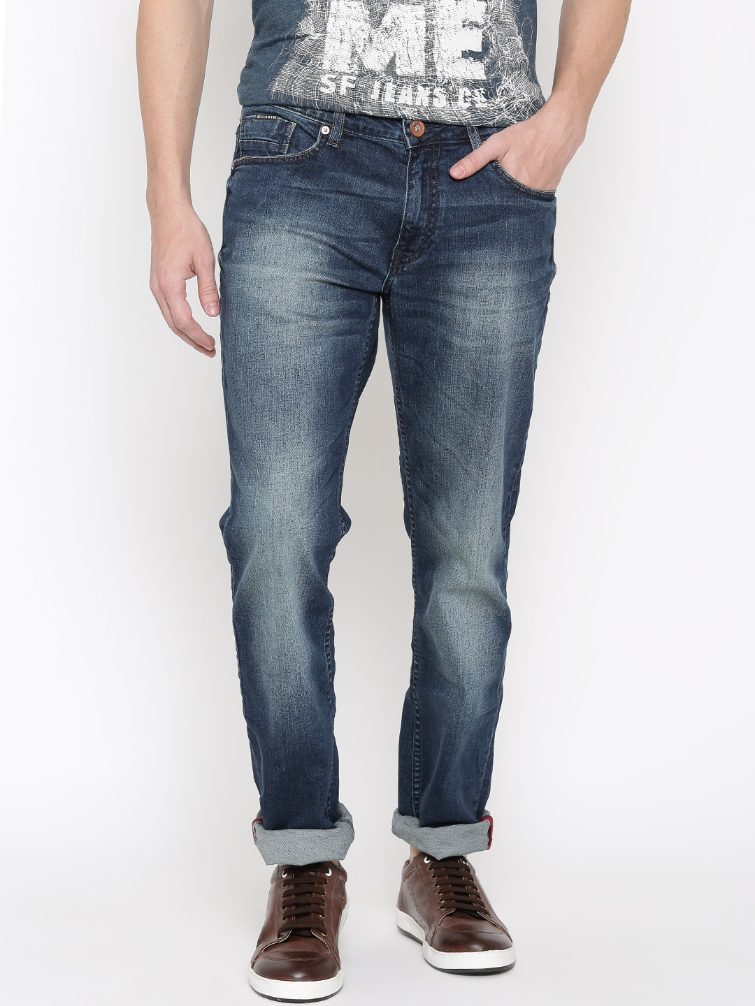 SF JEANS by Pantaloons Men Navy Martin Slim Fit Mid-Rise Clean Look Jeans