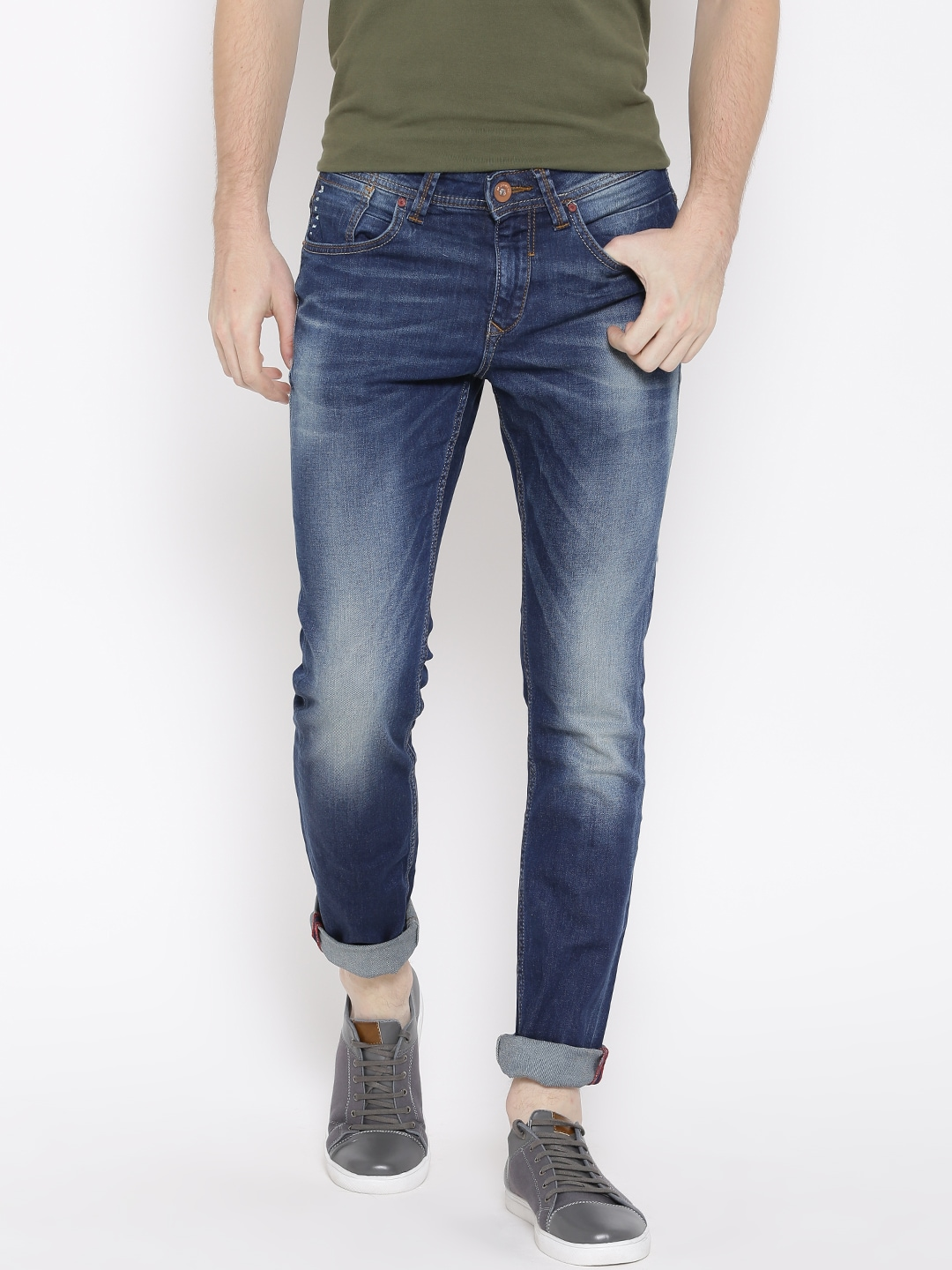 SF JEANS by Pantaloons Men Navy Jagger Skinny Fit Mid-Rise Clean Look Jeans