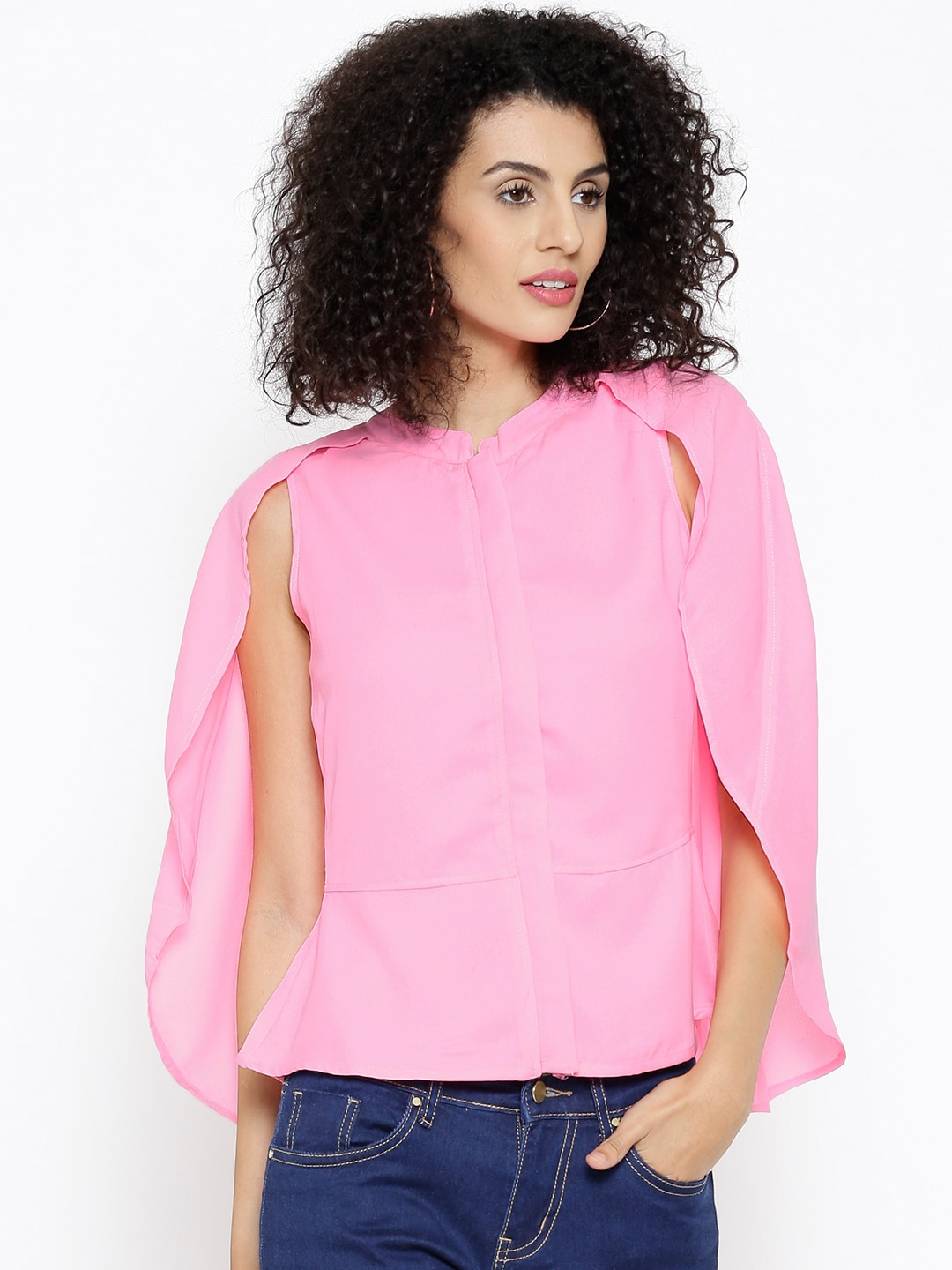 SASSAFRAS Women Pink Solid Top with Cape