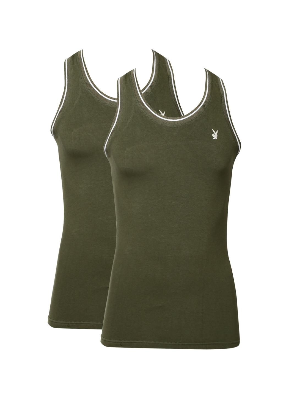 Playboy Men Set of 2 Olive Green Innerwear Vests UPB601-R