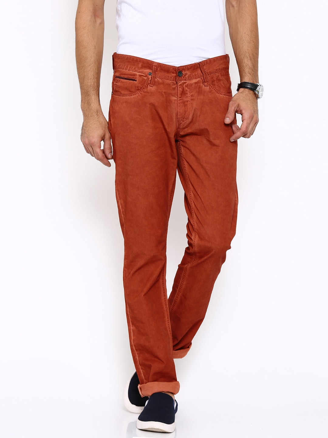 Tommy Hilfiger Men Orange Washed Chinos Trousers