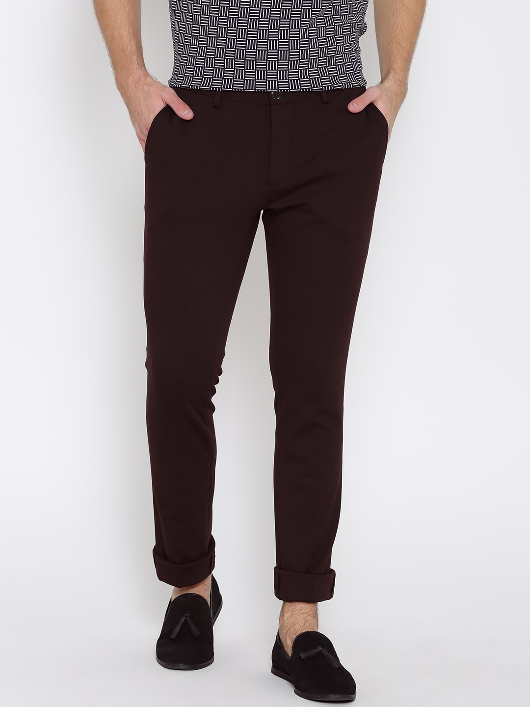 Men Burgundy Trousers Buy Men Burgundy Trousers Online In India