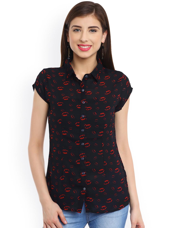 PANIT Women Black Regular Fit Printed Casual Shirt