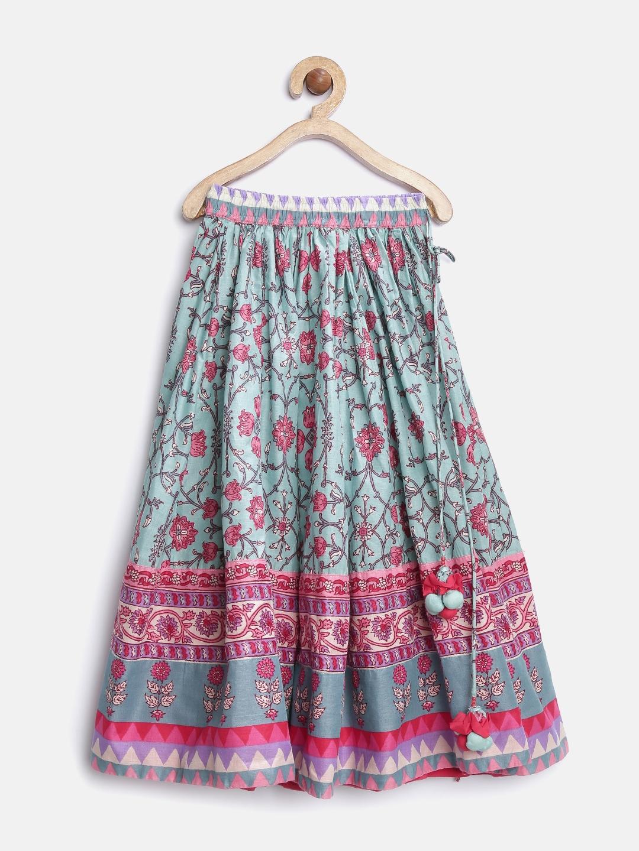 Buy Biba Girls Pink & Blue Floral Print Flared Maxi Skirt - Skirts ...