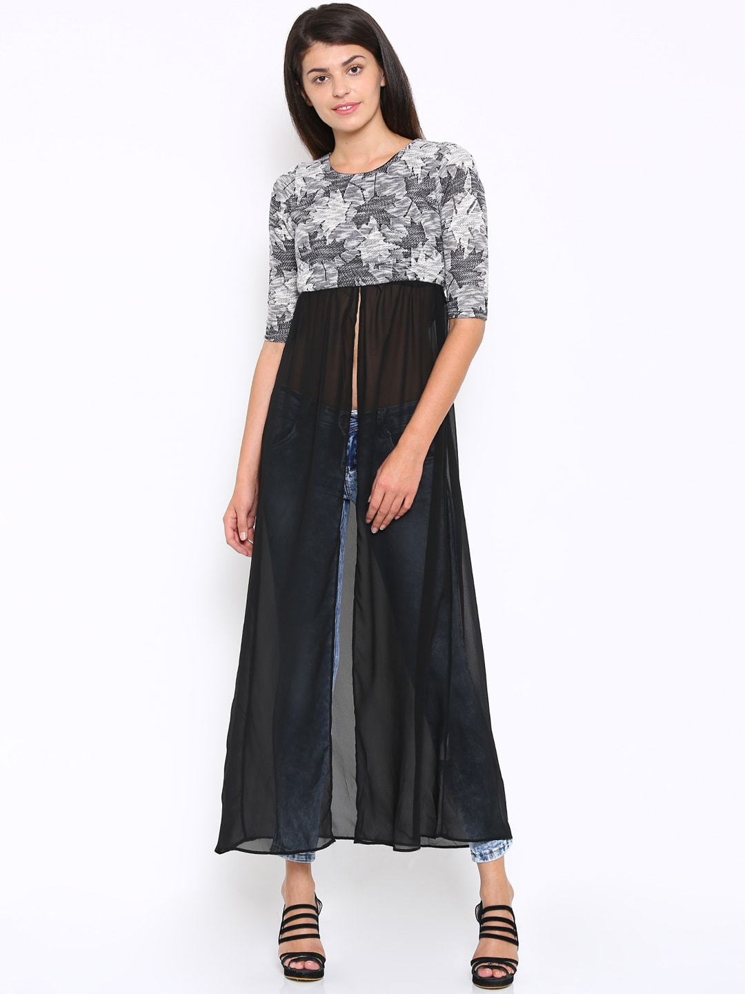 Deal Jeans Women Black & White Self-Design Maxi Top