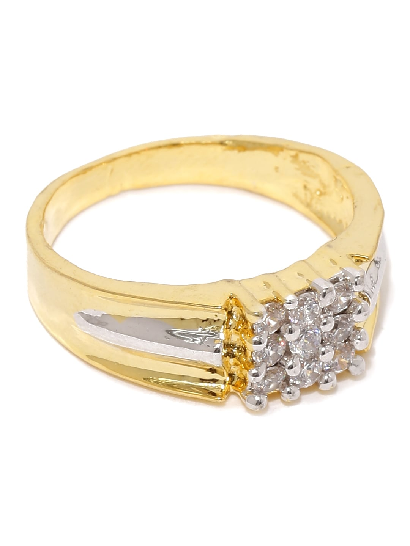 Sukkhi Men Gold & Rhodium-Plated CZ Stone-Studded Ring
