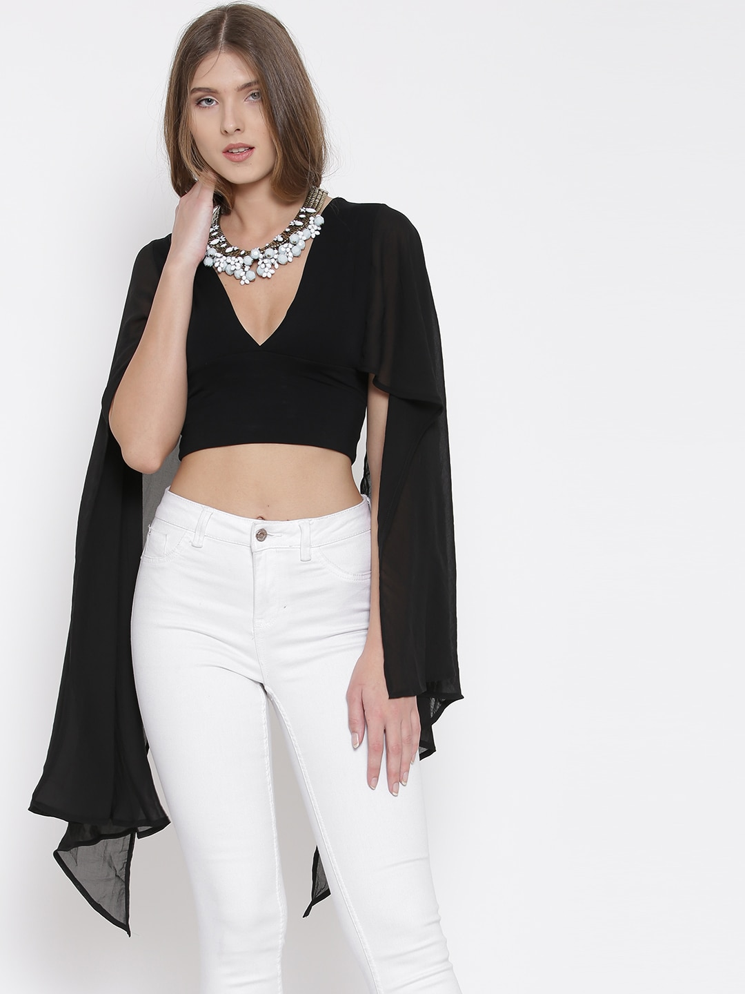 FOREVER 21 Women Black Solid Cape Sleeve Crop Top